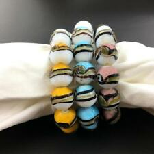 Funny Mixed Painted Round Beads Beaded Bangle Stretch Bracelet for Women