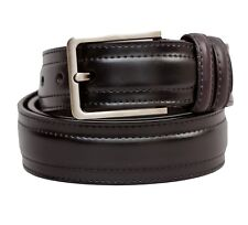 MEN CASUAL BROWN DRESS GENUINE LEATHER BELT WITH SILVER BUCKLE SIZES M, L, XL