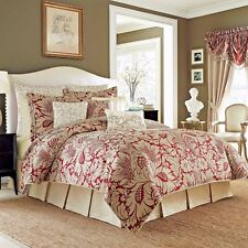 NEW Croscill Avery 4 pc Queen or King Comforter Set; Red, Tan, Beige, Linen