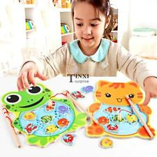 Baby Wooden Fishing Game Magnetic Puzzle Board Kids Jigsaw Puzzle TXSU