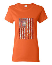 American Flag Distressed Independence Day Gift Women T-Shirt Orange Cotton New