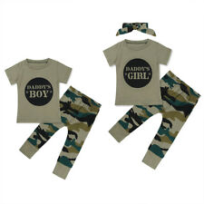 Daddy's Boy/Girl Clothes Baby Toddler T-shirt Tops + Pants Outfits Camo Playsuit