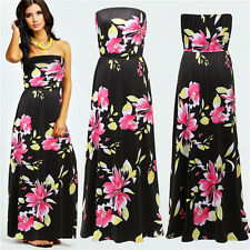 Ladies Summer Beach Boho Floral Printed Maxi Evening Party Dress Long Sexy Dress