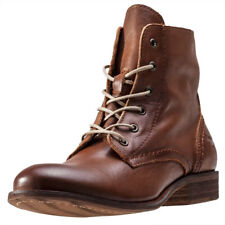 Mustang High Top Womens Brown Leather Casual Boots Lace-up Genuine Shoes