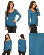 Ladies Womens Rayon Blend Solid V Neck Long Sleeve Knit Tee Top Teal Blue S M L