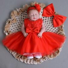 Red Elegant Lace Baptism Dress Bow Newborn Baby Girl Toddler Christening Gown