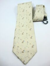 neck tie khaki with smal flags golf balls bags New