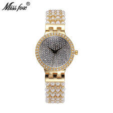 Miss Fox Simple Full Diamond Pearl Chain Band Wrist Watch Luxury Women Watches