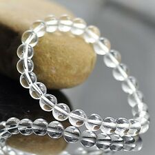 5mm-12mm Charm Womens Mens Natural Ice White Crystal Round Beads Stone Bracelet