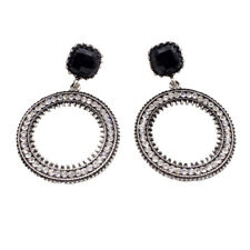 Women Big Circle Earrings Clear Crystal Round Dangle Drop Pierced Earrings
