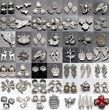 10-200Pcs Tibet Silver Hollow Heart Charms Pendants Antique Beaded Jewelry Craft