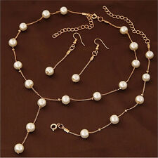 Multilayer Fashion Pearl Necklace Bracelet Earrings Gold Plated Jewelry Sets、New