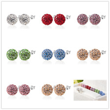 1 Pair Woman Girls Czech Crystal Disco Ball Stud Silver Charm Earrings 6mm 8mm