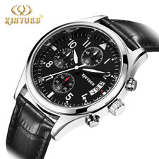KINYUED Mens Quartz Watch Fashion Casual Date Leather Strap Male Wristwatch New