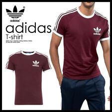 Adidas Mens Trefoil Mystery Red California Tees Crew Neck TShirts UK S M L XL