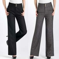Women Hi-Rise Wide Leg Palazzo Slacks Long Dress Wool Pants Trouser 27-34 000000