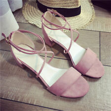 Women Open Toe Shoes Suede Strappy Lace Up High Heel Thick Heel Sandals Shoes