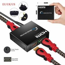 2 Ports HDMI Splitter Amplifier Switcher Female Switch 1080p 4K fr TV PC PS3 DVD