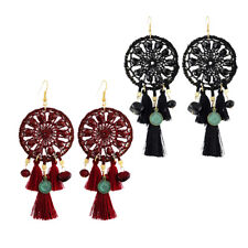 Charm Beads Thread Braided Long Tassel Dangle Earrings Hook Ethnic Earrings