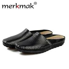 Merkmak Summer Beach Sandals Slippers 100% Genuine Leather Flats Casual Slip-on