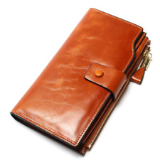 Fashion Genuine Leather Women Long Style Cowhide Purse Multifunctional Wallet