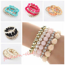 Lady Girl Multi-layer Resin Flower Pearl Bangle Rhinestone Bead Elastic Bracelet