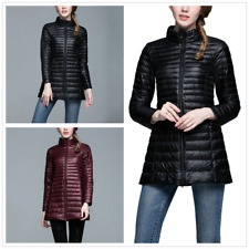 Womens Duck Down Ultra Light Puffer Jacket Slim Long Parka Hooded Coat Outwear