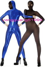 Blue Shiny Metallic and Black Spandex Silk Suit Catsuit Costumes W/ Open Eye 052