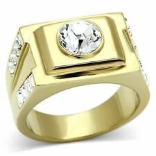 k725 MENS SIMULATED DIAMOND 316L STAINLESS STEEL 14K GOLD RING PINKY SOLITAIRE