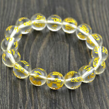 Natural White Crystal Round Beads Om Mani Padme Hum Women Bracelet 8 to 14mm New