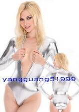 Silver Shiny Lycra Metallic Body Suit Catsuit Costumes Sexy Short Body Suit F031