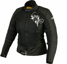 Ladies Motorcycle Jacket Biker Textile black. Summer Size S M L XL XXL
