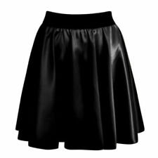 Womens Ladies Sexy High Waist Faux Leather Wet Look Skater Mini Flare Skirt 8 26