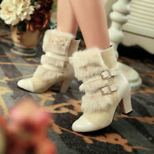 Plus Sz Womens Fur Winter High Block heel Roma Buckle Warm New Ankle Boots Shoes