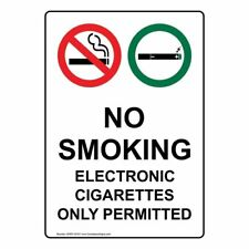 ComplianceSigns Vertical Vinyl No Smoking Electronic Cigarettes Only...