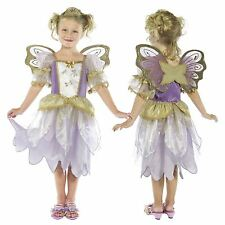 Girls Deluxe Purple Gold Fairy Princess Costume with Wings Fairy Fancy Dress