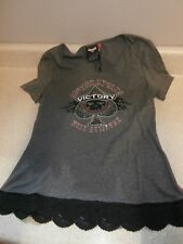 VICTORY SPADE LOGO W/  LACE AND RHINESTONE SS WOMENS TOP