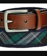 New Club Room Men's Belt Cotton and Faux-Leather Plaid Belt 32 34 36 38 40 42 44