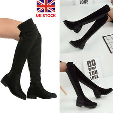 Women Over Knee Thigh High Boots Mid Block Heel Shoes Wide Leg Calf Stretch Shoe