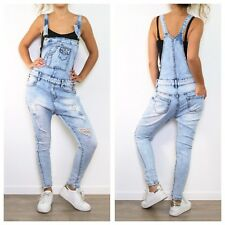 NEW WOMENS LADIES RIPPED DISTRESSED DENIM BLUE DUNGAREES JUMPSUIT SKINNY JEANS
