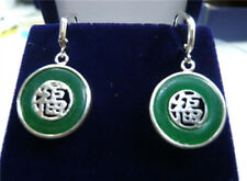 Natural Green Jade Gold Plated Fortune Lucky Earrings For Women Jewelry Gift