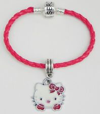 """Hello Kitty Red Bow & Paws Charm on Red Braided Serjaden Bracelet 6"""" to 8""""  #270"""