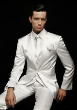 NEW 3PCS White Silver Groom Tuxedos Men Suits Wedding One Button Groomsmen