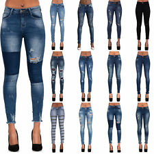 WOMENS BLUE KNEE CUT RIPPED SKINNY JEANS LADIES SEXY SLIM FIT DENIM SIZE 6-14