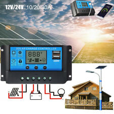 10A 20A 30A 12V/24V Solar Panel Charger Controller Battery Regulator USB LCD dd