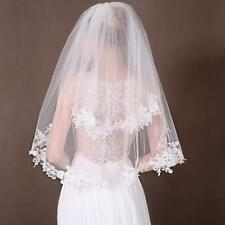 2T Elbow Wedding Veils Lace Appliques Edge Bridal Veil + Comb Accessories SC1173