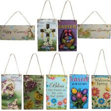 Colorful Wooden Plaque Tags Easter Gift Festival Wall Decorative Hanger