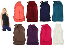Ladies Womens Pleated Sleeveless Ruched Halter Neck Tie Up Party Blouse Top 8-22