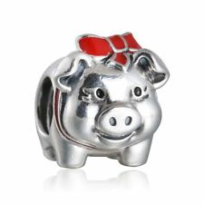 Authentic Sterling Silver Red Enamel Bowknot Piggy Bank Charm Beads Fit Bracelet