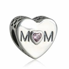 authentic sterling silver Charm Bead Pink CZ Mom Love Charms Heart charm Beads